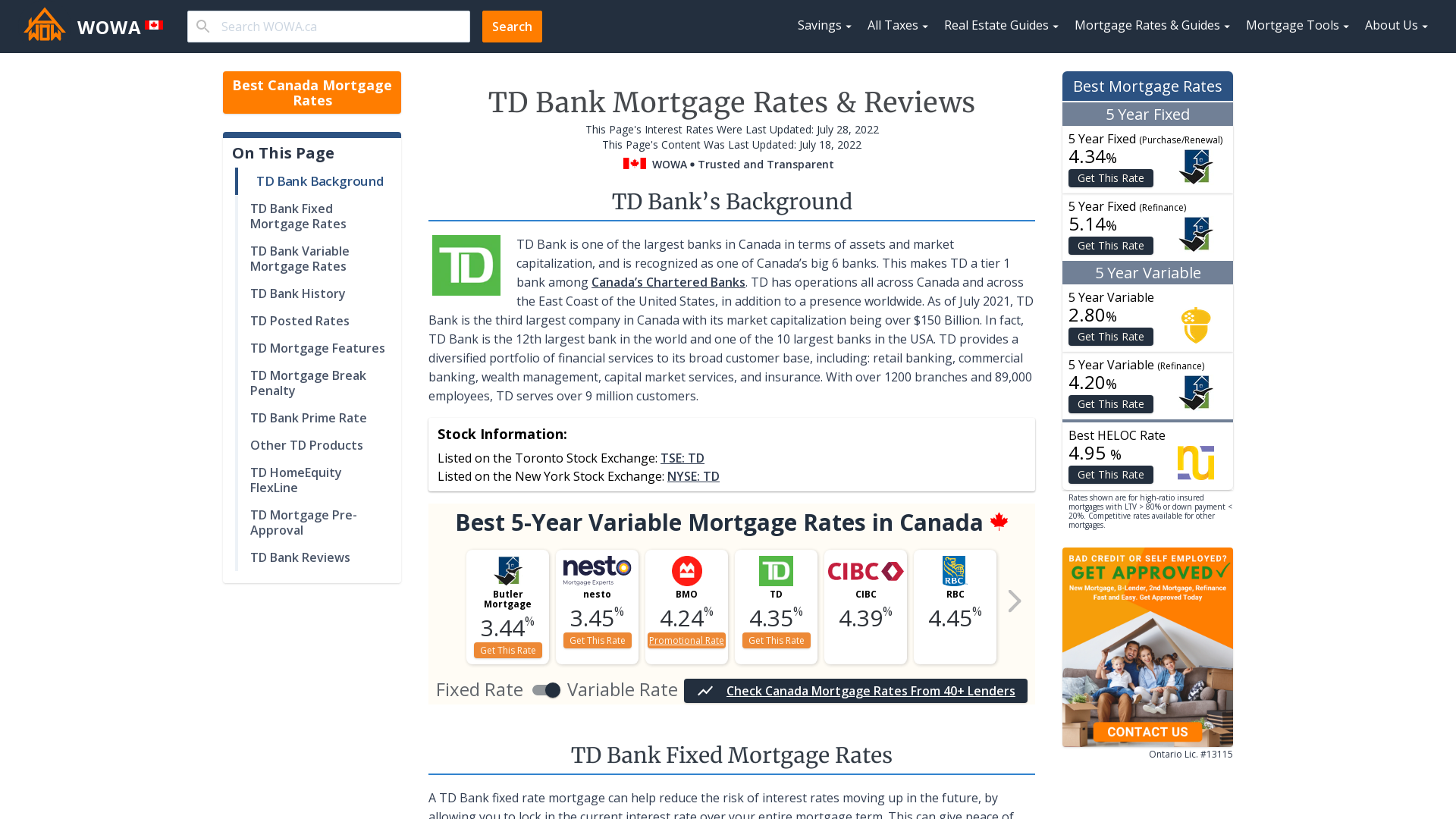 Td Bank Fixed And Variable Mortgage Rates Jul 2020 Special 2 09