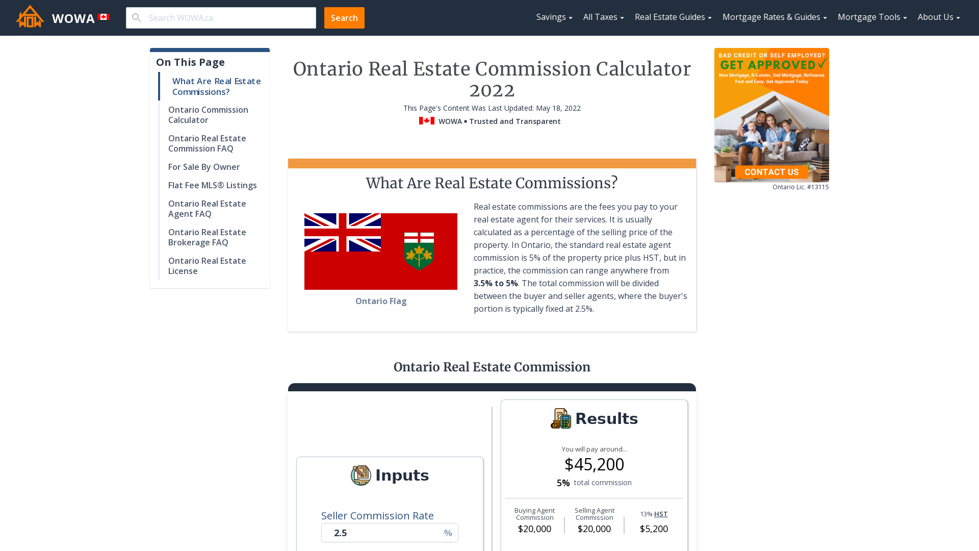Ontario Real Estate Commission Calculator | WOWA.ca