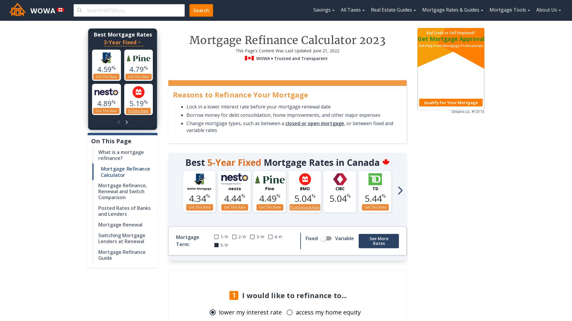 Canada Mortgage Refinance Calculator 2020 | WOWA.ca