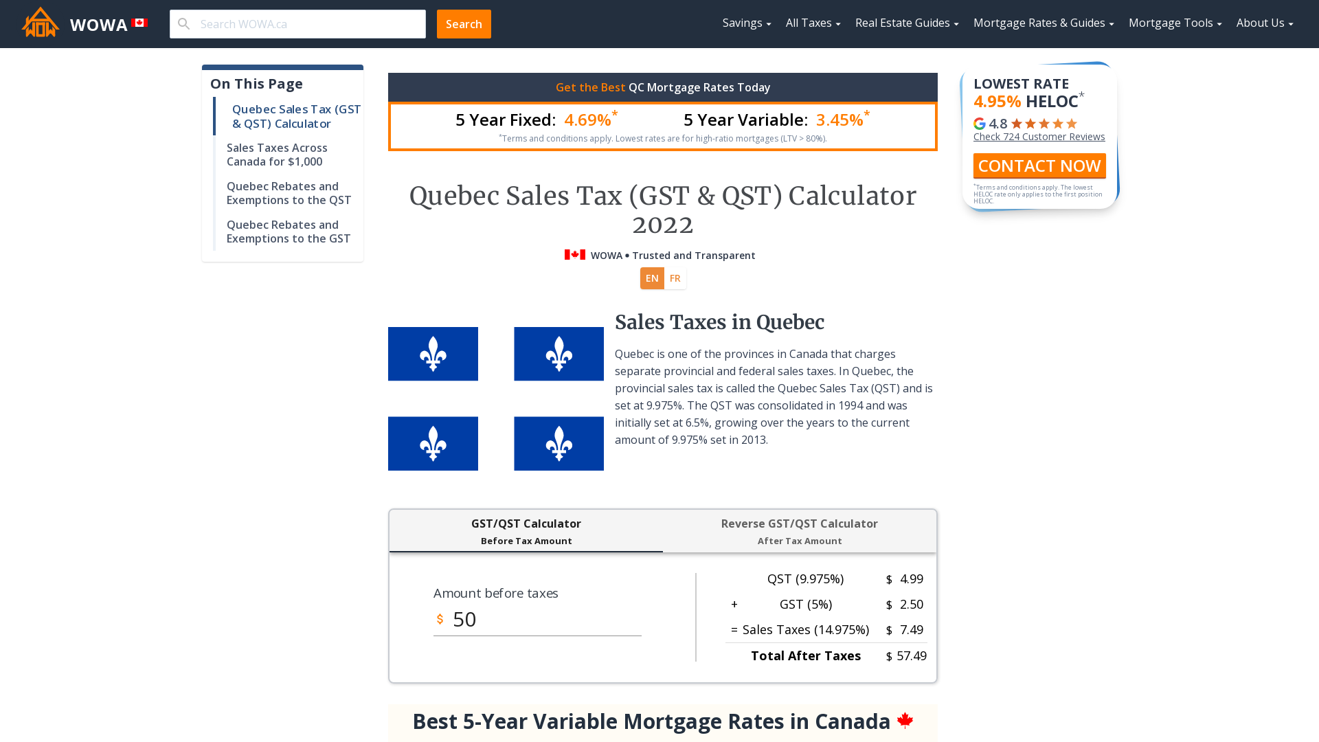 Quebec Sales Tax Gst Qst Calculator 2021 Wowa Ca