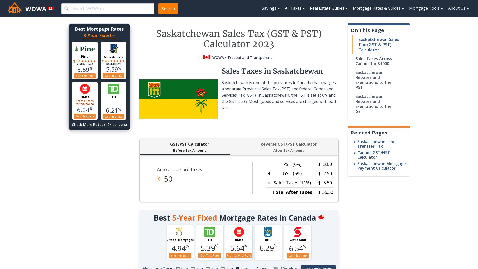 Saskatchewan Sales Tax Gst Pst Calculator 2021 Wowa Ca