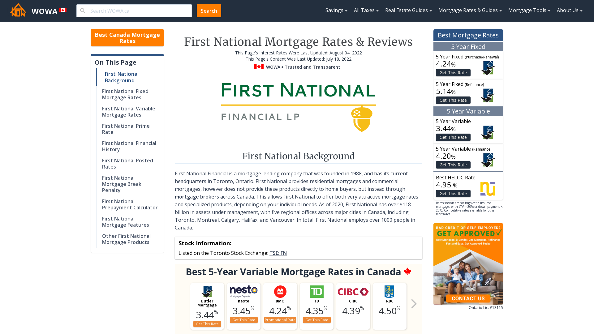 First National Fixed And Variable Mortgage Rates Oct 2020 From 1 79 Wowa Ca